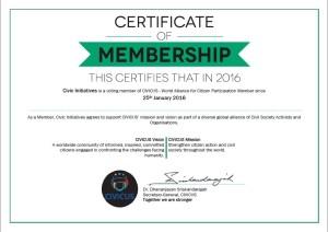 Civicus Certificate 2016